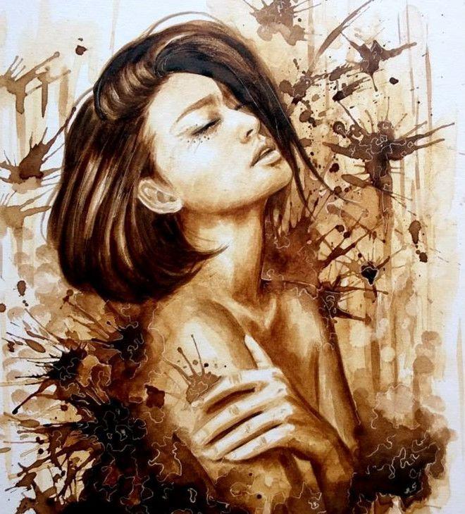 9X Việt có biệt tài vẽ chân dung bằng màu cà phê sống động